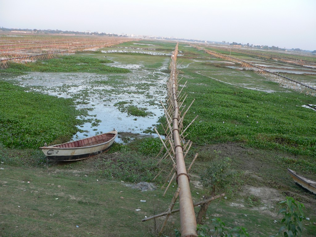 Wetland filled up in massive scale for the Eastern and other Housing Project in Alubdi Area by Pallabi, starting at the end of the National Botanical Garden in Mirpur in 2004. Today, in 2014 it is a full grown town of concrete with no trace of water, fish, bird or alike.  Photo: K. BHUIYAN